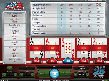 Игровой автомат All American Video Poker Multihand 5