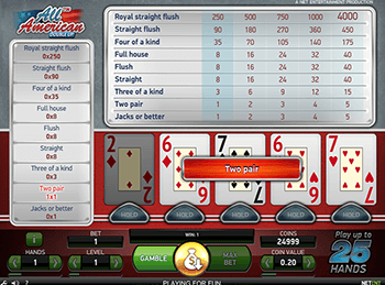 Игровой автомат All American Video Poker Multihand 7