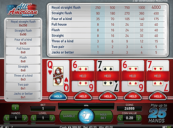 Игровой автомат All American Video Poker Multihand 1