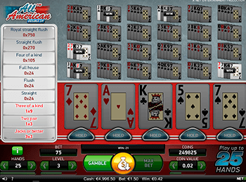 Игровой автомат All American Video Poker Multihand 8